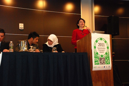 Polly Trottenberg was the keynote speaker at last night's Sustainable Transport Award Ceremony. Photo by Aaron Minnick.