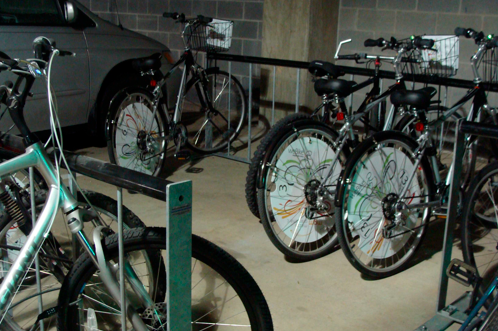 """weBike uses SMS texting to identify bikes and provide users with lock combinations, minimizing bike share costs and the need for """"stations."""" Photo via weBike."""