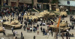 In Cairo, tanks block off parts of Tahrir Square. Photo by Al Jazeera English.