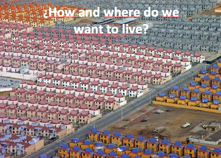 Current patterns of sprawling urban development are unsustainable. Image via Salvador Herrera's presentation from Transforming Transportation 2011.