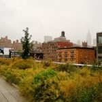 The High Line Park in Chelsea, New York has food vendors in temporary carts.