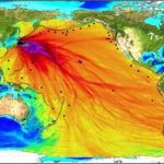 The above image was created using data collected by tsunami buoys to estimate the wave arrival time and the wave height of the tsunami. Photo by NOAA via Technology Review.