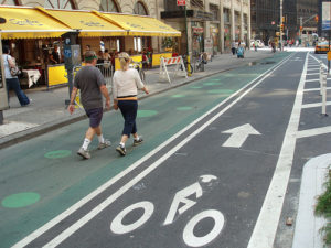 New York City residents speak out on bike lanes in their city, such as the one pictured here. Photo via Spencer Thomas.