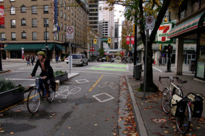 Health study indicates heart risks for cyclists and need for improved bike infrastructure, such as the pictured Portland cycletrack.  Photo by Paul Krueger.