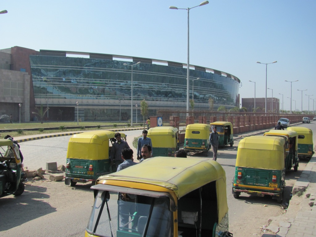 Auto rickshaws outside Dwarka Sector 21 station. Photo by Amit Bhatt.