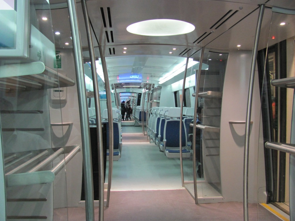 A view of the Airport Metro Express coach. Photo by Amit Bhatt.