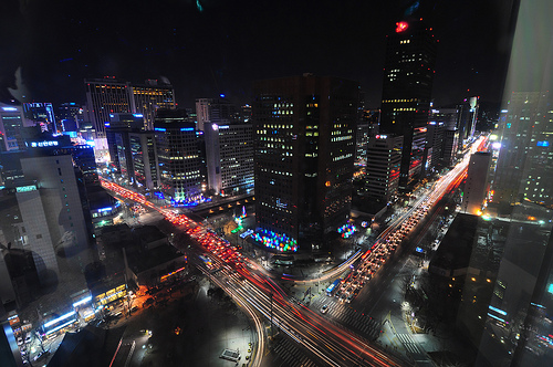 A view of hi-tech Seoul from Jongno Tower. Photo by Brian.