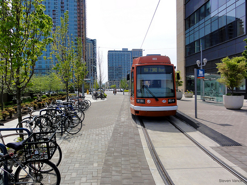 Portland's transit oriented development encourages pedestrian and cyclist friendly roads and connects neighborhoods through transit. Photo by Steven Vance.