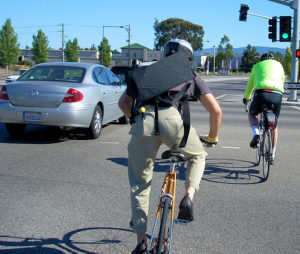 Study finds 83 percent of bike commuters have bike lanes for less than half of their ride. Photo by Richard Masoner.