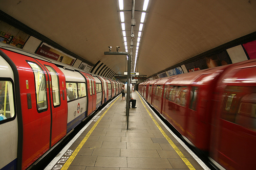 Old meets new in the same station of the London Underground. Photo by Ian Mansfield.