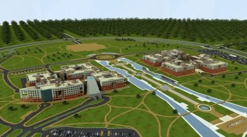 Mantralya Bhawan Road View. Rendering by Naya Raipur Development Authority.