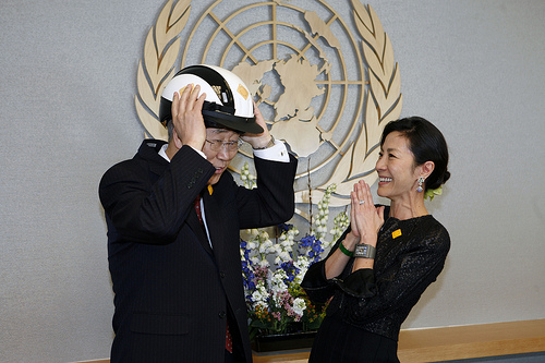 U.N. Secretary General Ban Ki-Moon and Global Road Safety Ambassador Michelle Yeoh preparing for the launch of the Global Plan: A Decade of Action. Photo by makeroadssafe