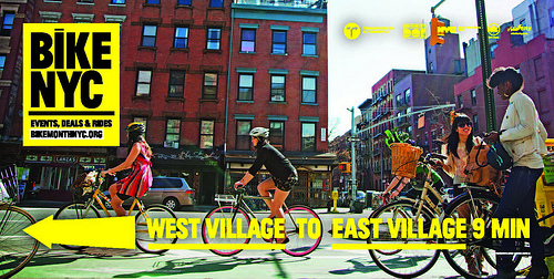 In honor of Bike Month, NYC released promotional ads featuring the time it takes to travel from various neighborhoods in New York City. Photo by nycstreets.