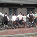 """Revolutionary"" Hubway riders outside of Paul Revere's House in Boston. Photo by City of Boston."