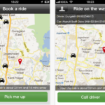 Ola Cabs lets users book the closest available cab with just one touch, as seen in this screenshot of the company's iPhone app. Photo via iTunes.