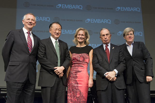 WRI President Andrew Steer, World Bank President Jim Kim and New York City Mayor Michael Bloomberg delivered remarks. Photo credit World Bank.