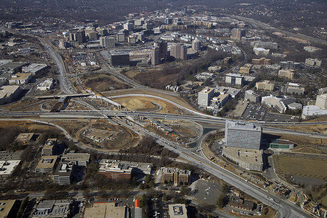 From an edge city to a vibrant urban center. Is Tysons Corner wishful thinking? Photo by VaDOT.