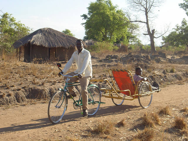 Bike ambulances save lives in remote areas. Photo by Transaid.