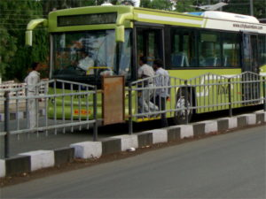 Trial runs launched on the iBus bus rapid transit corridor, Indore, India. Photo by Dario Hidalgo.