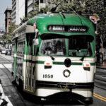 A San Francisco, California, streetcar plies F Street, near the Embarcadero. Photo by danishdynamite.
