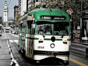 A San Francisco, California, streetcar plies F Street, near the Embarcadero. Photo by danishdynamite.