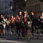 Cyclists ride in Copenhagen