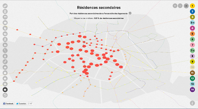 DataParis map showing number of second homes per stop