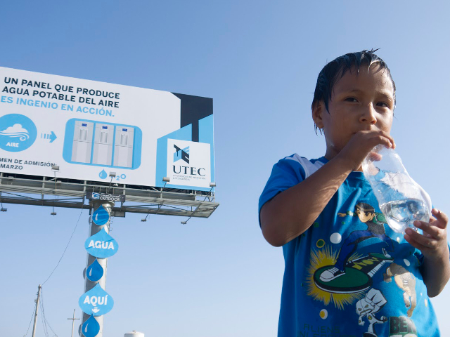A billboard in Lima draws water out of the air