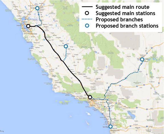 The Hyperloop would run through California's central valley.