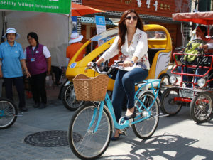 The EcoMobility World Festival has turned one neighborhood in Suwong, South Korea, into car-free city for one month. Photo by ICLEI-Local Governments for Sustainability.