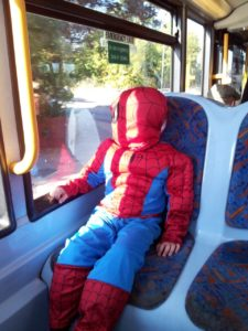 Spiderman on bus