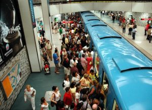 Busy train station