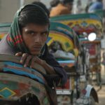 Cycle rickshaw driver in Gurgaon, India
