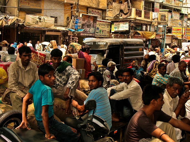 Crowded street in New Delhi, India
