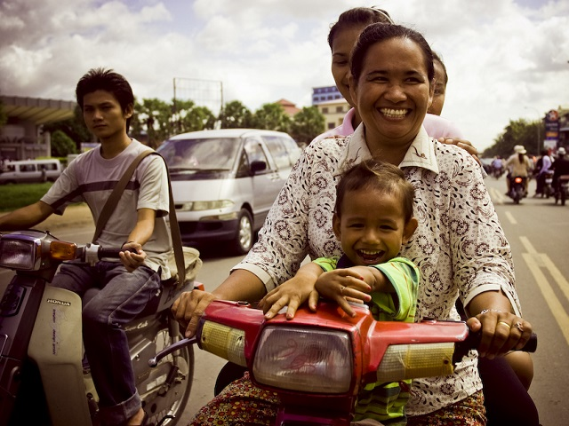 Happy traffic in Phnom Penh, Cambodia. Photo by SpAvAAi/Flickr.
