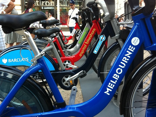 Shared bikes represent the wide range of bike-share systems around the world. Photo courtesy of Melbourne Bike Share.