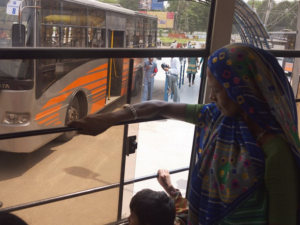 Passengers ride Ahmedabad, India's bus rapid transit (BRT) system, the Janmarg, which has dramatically altered the city's transport network. Photo by EMBARQ.