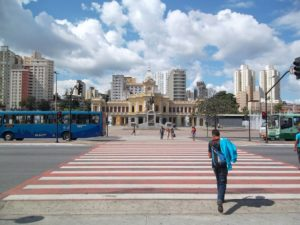 Urban infrastructure--like this pedestrian crossing in Belo Horizonte--also serves as vital public space for residents. Photo by EMBARQ Brasil.