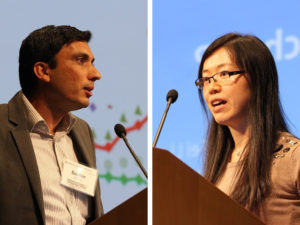 Sudhir Gota and Fei Li present at Transforming Transportation 2014. Photo by Aaron Minnick/EMBARQ.