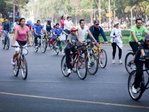 Cyclists riding in Mexico City, Mexico. A new series of videos from the city of Edmonton, Canada, are using an innovative approach to educate all road users about bicycle safety: LEGO. Photo by Maks Karochkin/Flickr.