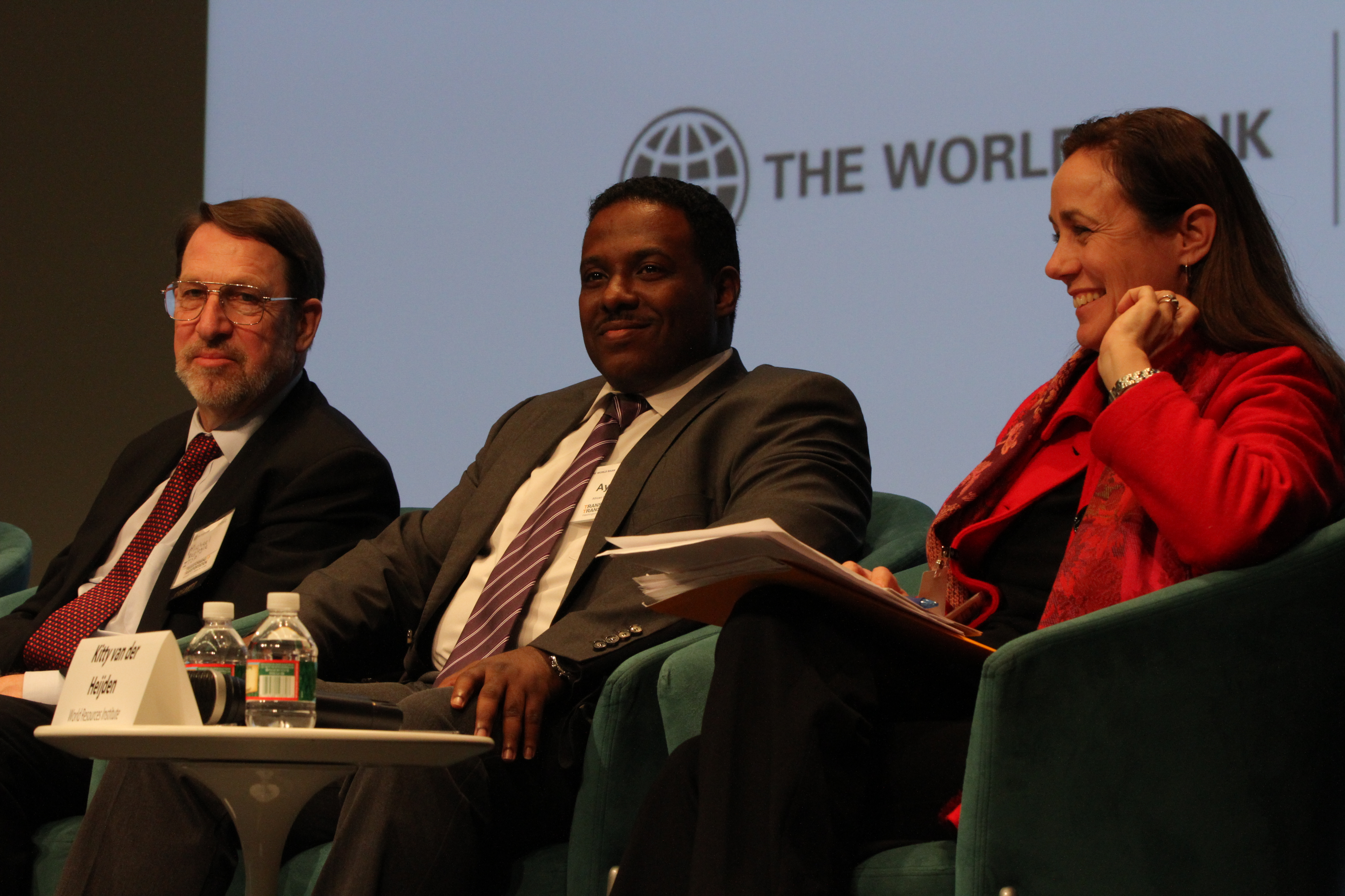 """Panelists during the """"Sustainable Development Goals and Transport"""" plenary at Transforming Transportation 2014. Photo by Aaron Minnick/EMBARQ."""
