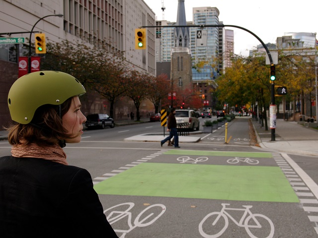 Separated bike lane in Vanouver, Canada. Photo by Paul Krueger/Flickr. Cropped.