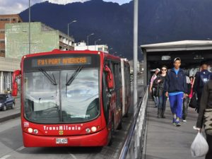 The TransMilenio bus rapid transit (BRT) system in Bogotá, Colombia (pictured above) is one of the leading examples of sustainable transport worldwide. New research shows that ridership is associated with greater levels of physical activity, making the city a healthier place. Photo by Mariana Gil/EMBARQ Brazil.