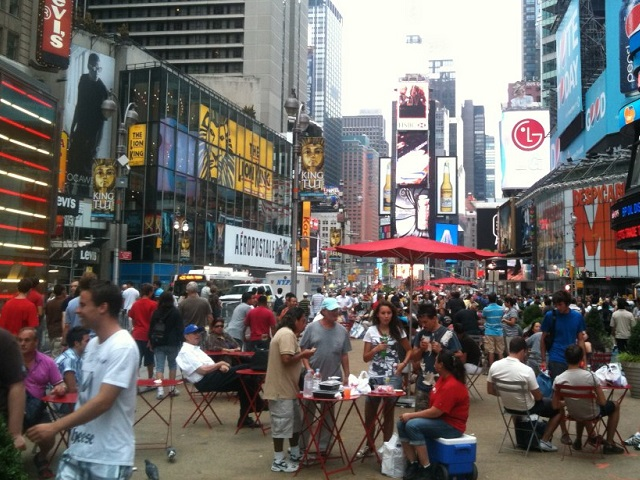 A pedestrian plaza is created in Times Square, New York. Photo by malyousif/Flickr.