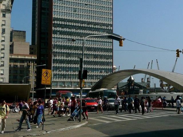 People walk around the Estacao Mercado, a central transport hub in Porto Alegre, Brazil. Photo by Eduardo Zarate/Flickr.