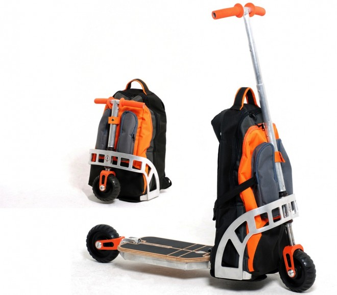 Users can fold out the handle and wheels when they want a scooter, and fold the parts back into the backpack for easy carrying. Image via Wired magazine.