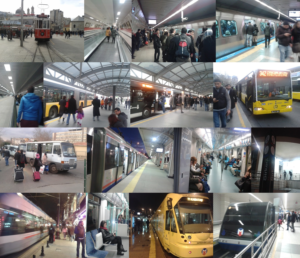 From top to bottom clockwise: Taksim Square Historic Tram to Tünel; Connection to Platform at Taksim Station; Metro Platform Taksim Station; Metro Platform Sisli Station; Connection to Metroüs; Metrobüs Mercedekoy Station (two photos; European Side); Metrobüs Söğütlüçeşme Station (Asian Side); Microbuses in Kadiköy; Mamaray Ayrilikcesme Station (Asian Side); Interior of Marmaray train traveling below the Bosphorus Strait (world deepest immersed tunnel); Marmaray Sirkeci Station Entrance (for elevator shafts); Modern Tramway in Sultanahmet; Interior of Modern Tramway; Modern Tramway Kabatas Station; Funicular Kabatas-Taksim (594m). Photos: D. Hidalgo, February 9, 2014
