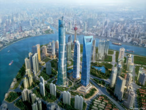 Shanghai Tower rendering. Image by Gensler Architects.