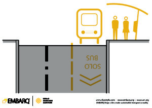Streets and roadways can support safe access to transport for pedestrians, if designed correctly. Image by EMBARQ.