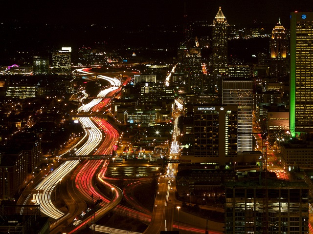 Interstate I-85 in Atlanta, Georgia, serves as both a physical transport system and a symbol of the city's often tumultuous growth. Photo by Nick Harland/Flickr.